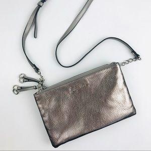 Libby Edelman Metallic Pewter Double Zip Crossbody